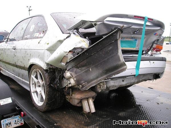E36 M3 wreckage - Lockton Motorsports HPDE Insurance