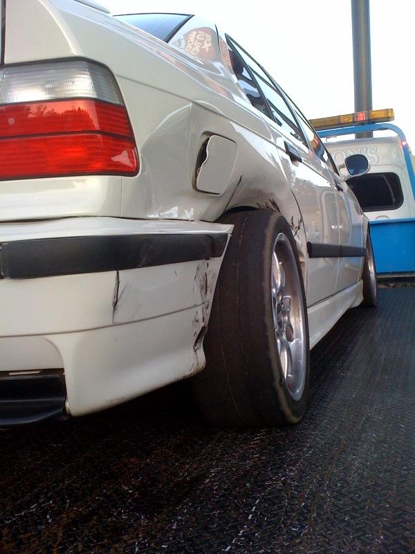 Alpine White E36 M3 crash - Lockton Motorsports HPDE Insurance