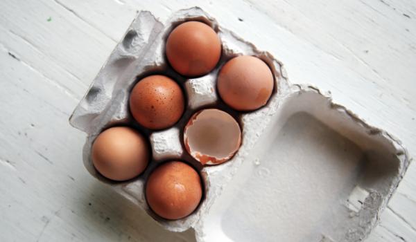 Egg carton with eggs